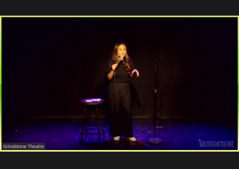 Celeste Lampa hosting She Said WHAT? on Zoom, from the Grindstone Theatre, Edmonton.
