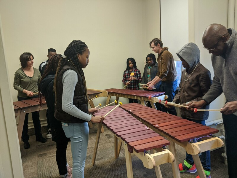 Marimba class at Sihle-Sizwe's after-school program in Edmonton, Alberta.